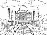 Taj Mahal India Coloring Pages Wonders Printable Famous sketch template