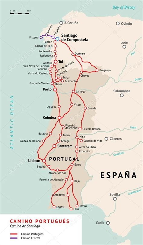 camino maps camino portugues map camino de santiago portugal stock