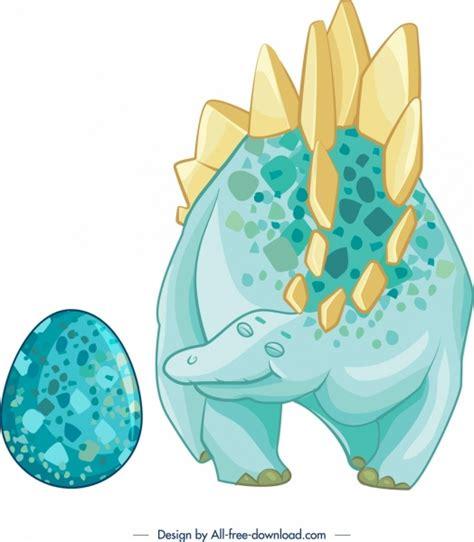 latar belakang jurasik dinosaur telur ikon biru kuning