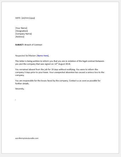 breach  contract letter  employee formal word templates