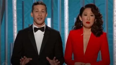 sandra oh lady gaga speech golden globes 2019 sandra oh and andy samberg mock lady