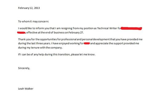 Resignation Letter To Whom It May Concern 69320 Loadtve