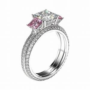 three stone princess and pink sapphire engagement ring With pink sapphire wedding ring