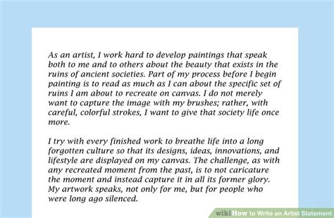 ways  write  artist statement wikihow