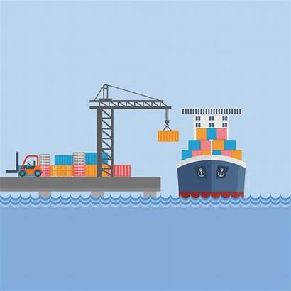 Port Container Ship Vector Harbour