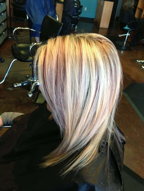 Blonde Highlights With Burgundy Lowlights Done By Karli
