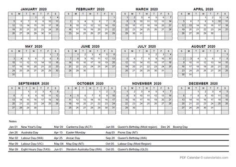 yearly calendar  australia holidays