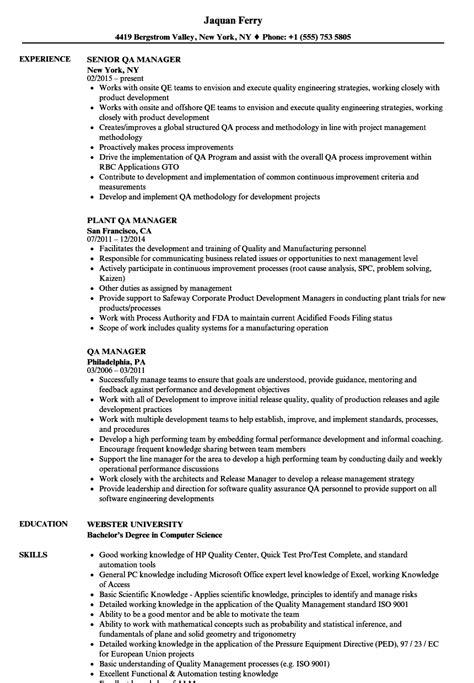 Qa Resume by Qa Manager Resume Sles Velvet