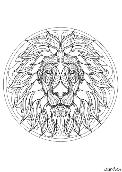 complex mandala coloring page  majestic lion head