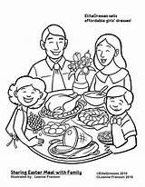 Coloring Dinner Pages Christmas Printable Easter Colouring Clipart Thanksgiving Drawing Eating Sharing Cameo Restaurant Together Repas Dessin Sheets Meal Preschool sketch template