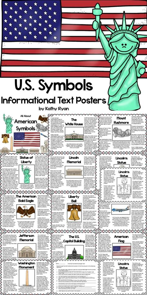american symbols informational text posters  coloring