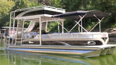 Used Pontoon Boats With Upper Deck And Slide For Sale by Double Decker Pontoon Boats For Sale