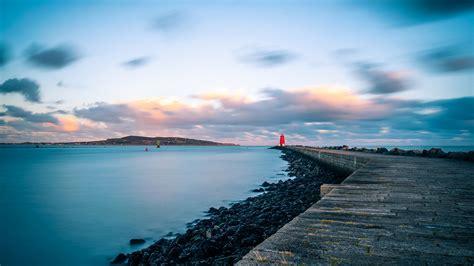 wallpaper  pier lighthouse sea coast
