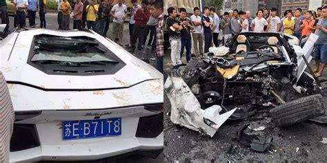 crashed white lamborghini lamborghini aventador crashes into mud truck in china