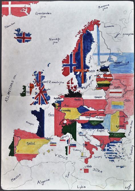Veiko Spolīša zīmēta Eiropas karte | Europeana