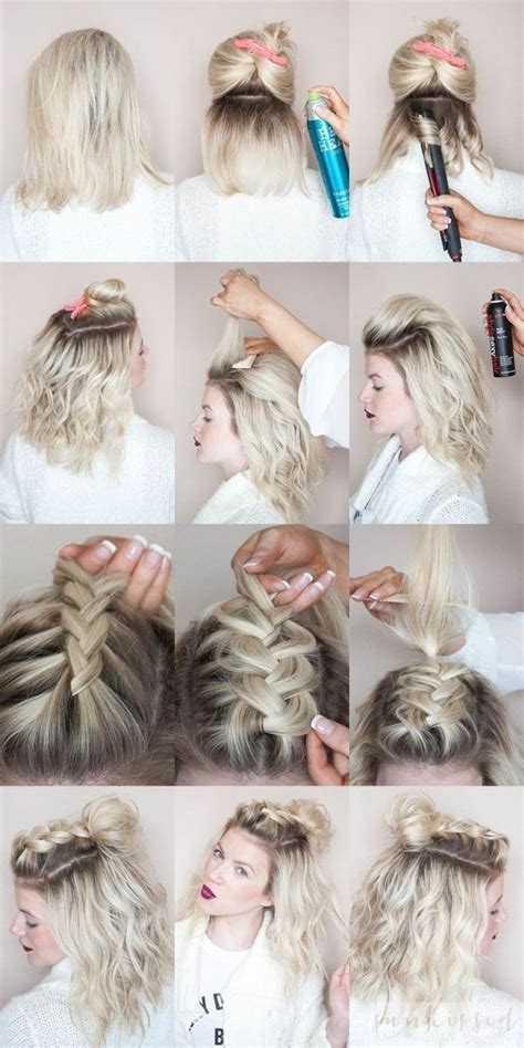 Tutorial for beginners Hairstyle 💁🏻 Short hairstyle Braids