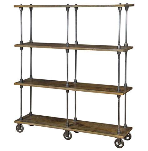 Roland Industrial Loft Weathered Oak 4 Shelf Rolling Bookcase