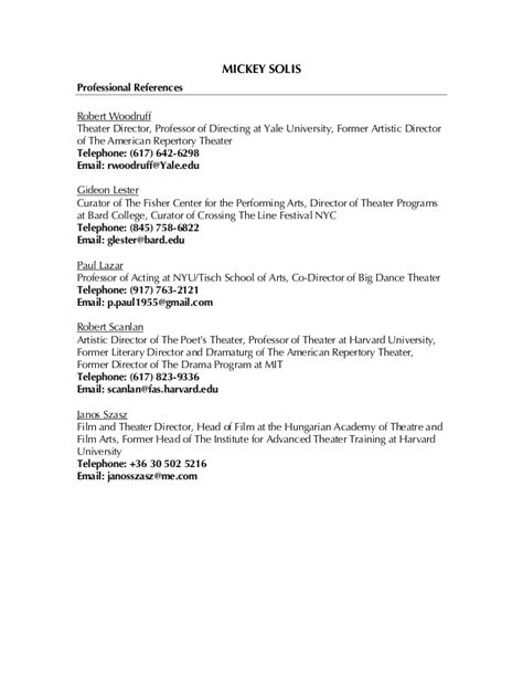 Sle Professional Reference List by Professional References List
