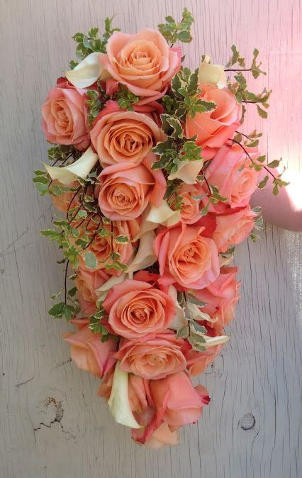 The Enchanted Florist Coral Rose And Calla Lily Cascade