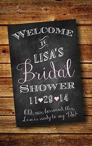 bridal shower welcome sign customized digital by With chalkboard wedding shower signs