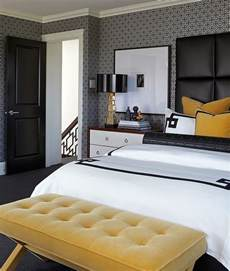 Dark Grey Headboard bold black and white bedrooms with bright pops of color