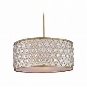 Drum pendant lighting white : Drum pendant light with white shade in golden silver