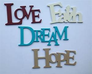 hand painted wood wall words connected letters love faith With dream wall letters