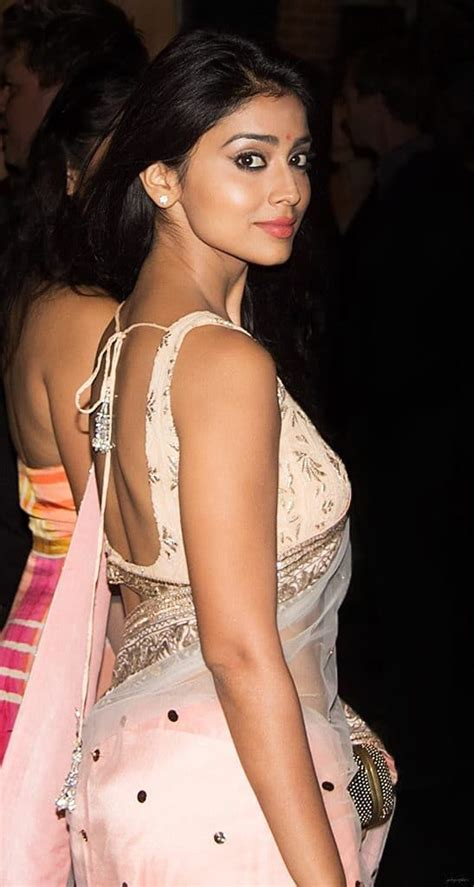 Lucky Saree Shriya Saran In Saree With A Backless Knot Blouse Shriya Shriyasaran Shriyains