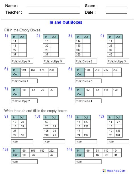 function table worksheets function table