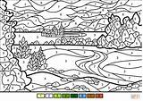 Coloring Number Landscape Pages Summer Printable Supercoloring Styles Dot Puzzle sketch template
