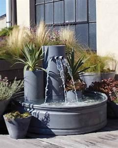 Garden, Waterfall, Fountain