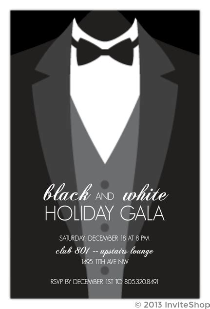 suit  formal black tie holiday party invitation