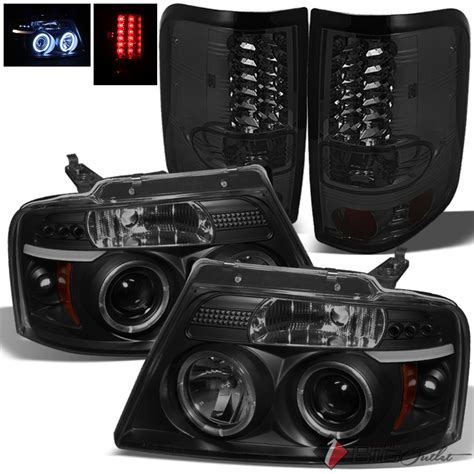 smoked headlights and tail lights for 04 08 f150 black smoked halo projector headlights