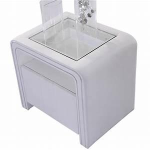 Table De Nuit Blanc Laqué : table de chevet design en simili cuir blanc vi achat ~ Teatrodelosmanantiales.com Idées de Décoration