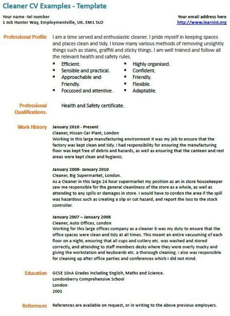 cleaner cv  cv examples resume examples