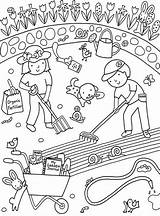 Coloring Garden Pages Starting Gardening Rocks Sunflowers Realistic sketch template
