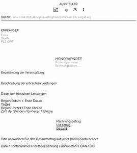 Rechnung Honorar Vorlage : honorarnoten ~ Themetempest.com Abrechnung