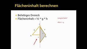Höhe Eines Rechtwinkligen Dreiecks Berechnen : fl cheninhalt eines beliebigen dreiecks berechnen youtube ~ Themetempest.com Abrechnung