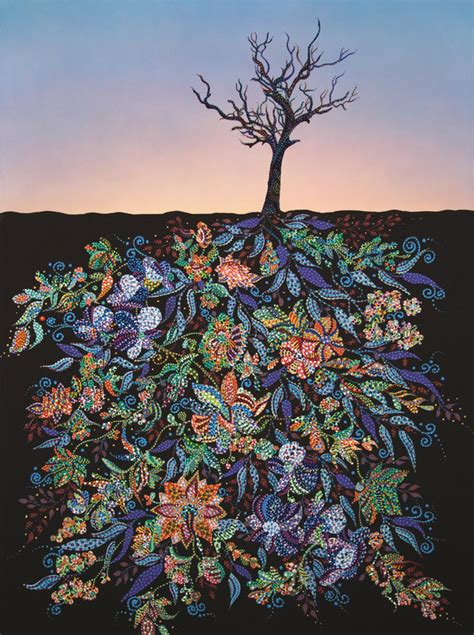gorgeous paintings  tree roots filled  colorful detail