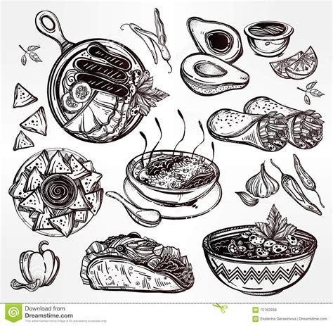illustration cuisine food vector set stock vector image 70162938