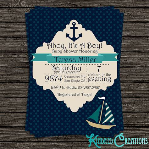 Baby Shower Boy by Nautical Baby Boy Shower Invitation Kindred Creations