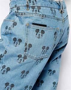 Eleven Paris Designer Eleven Paris Jeans In Mickey Mouse Print In Blue Lyst