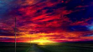Download, 1920x1080, Wallpaper, Sunset, Road, Landscape, Anime, Clouds, Full, Hd, Hdtv, Fhd, 1080p