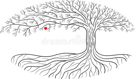 Druidic Apple Tree, Oval Silhouette, Black And White Tree