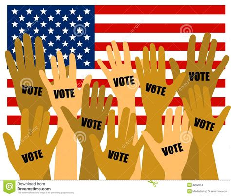 US Election Voters With Hands Raised Stock Illustration ...