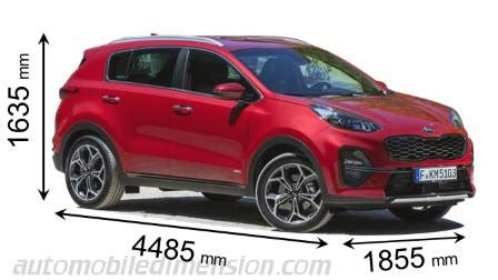Kia Sportage Dimensions by Dimensions Of Kia Cars Showing Length Width And Height