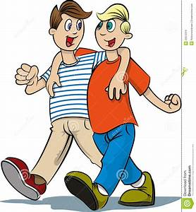 Two Boys Walk Clipart