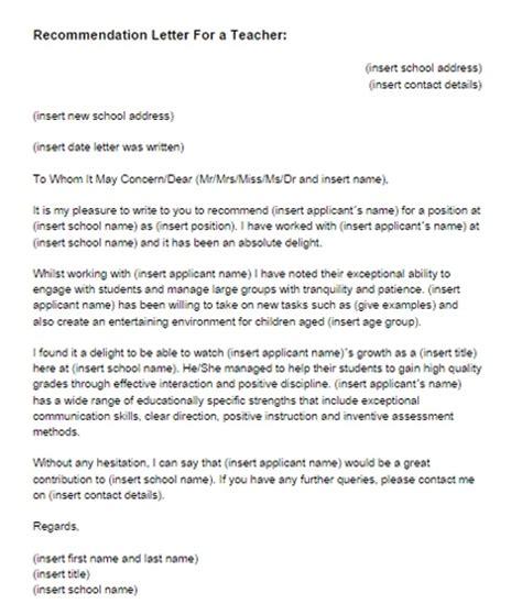 letters of recommendation for teachers letter of recommendation for a template resume 6938