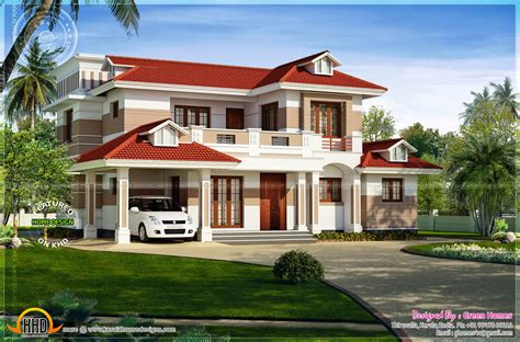 Nice red roof house exterior  Kerala home design and