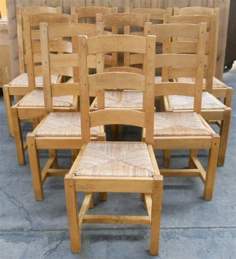 Set of Ten Light Oak Ladderback Rush Seat Dining Chairs   SOLD